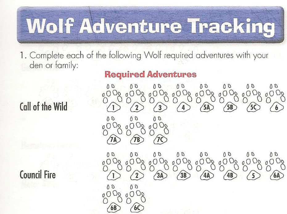 cub scout wolf adventure tracker