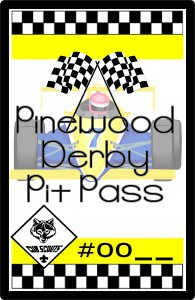 Pinewood Derby Pit Pass