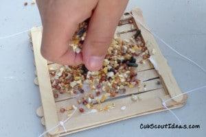 Cub Scout craft stick bird feeder 1