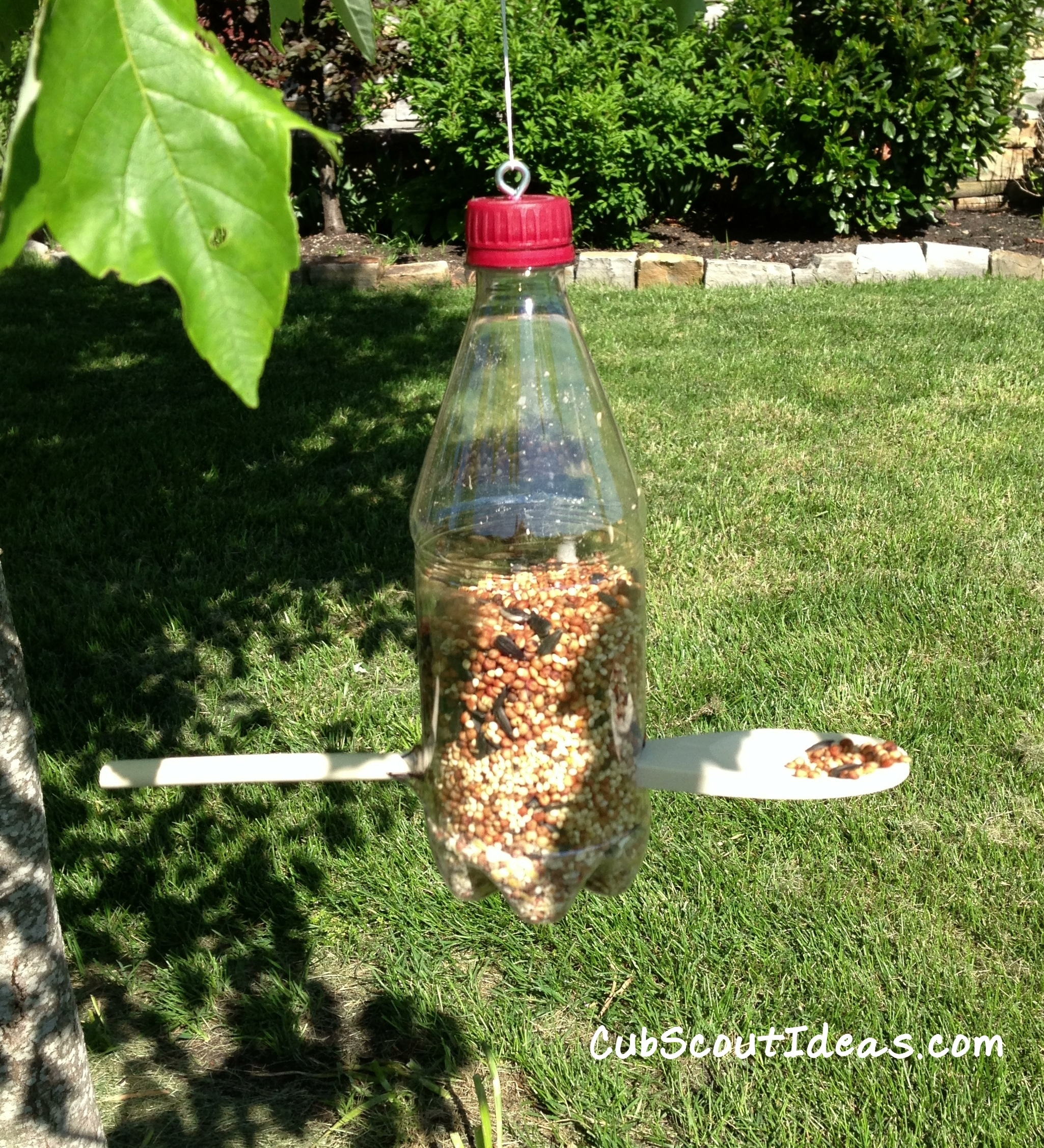 Cub scouts bird feeders for kids to make cub scout ideas for Plastic bottle bird house