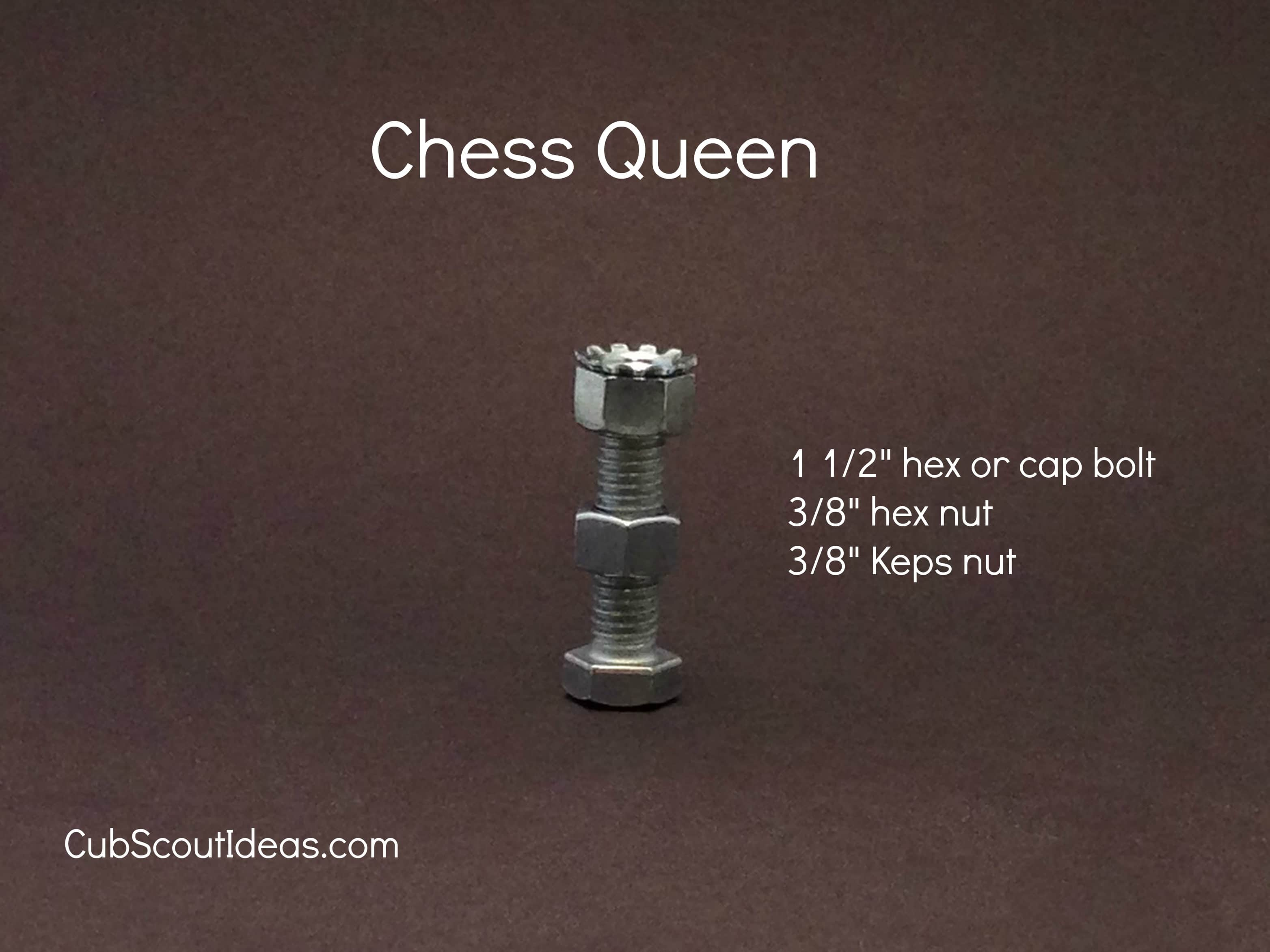 chess queen from nuts and bolts