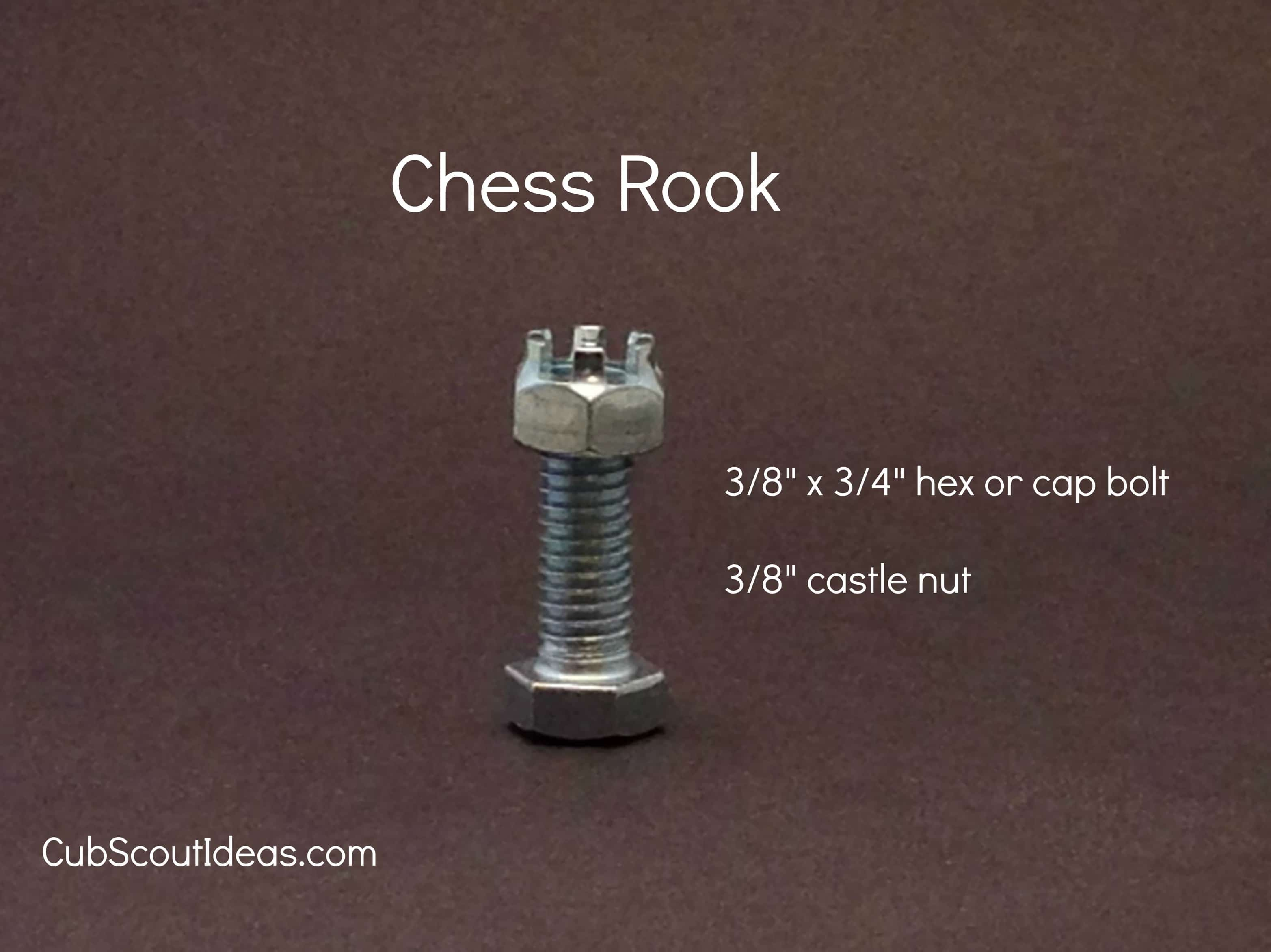 chess rook from nuts and bolts