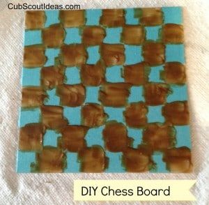 chess board with etching cream