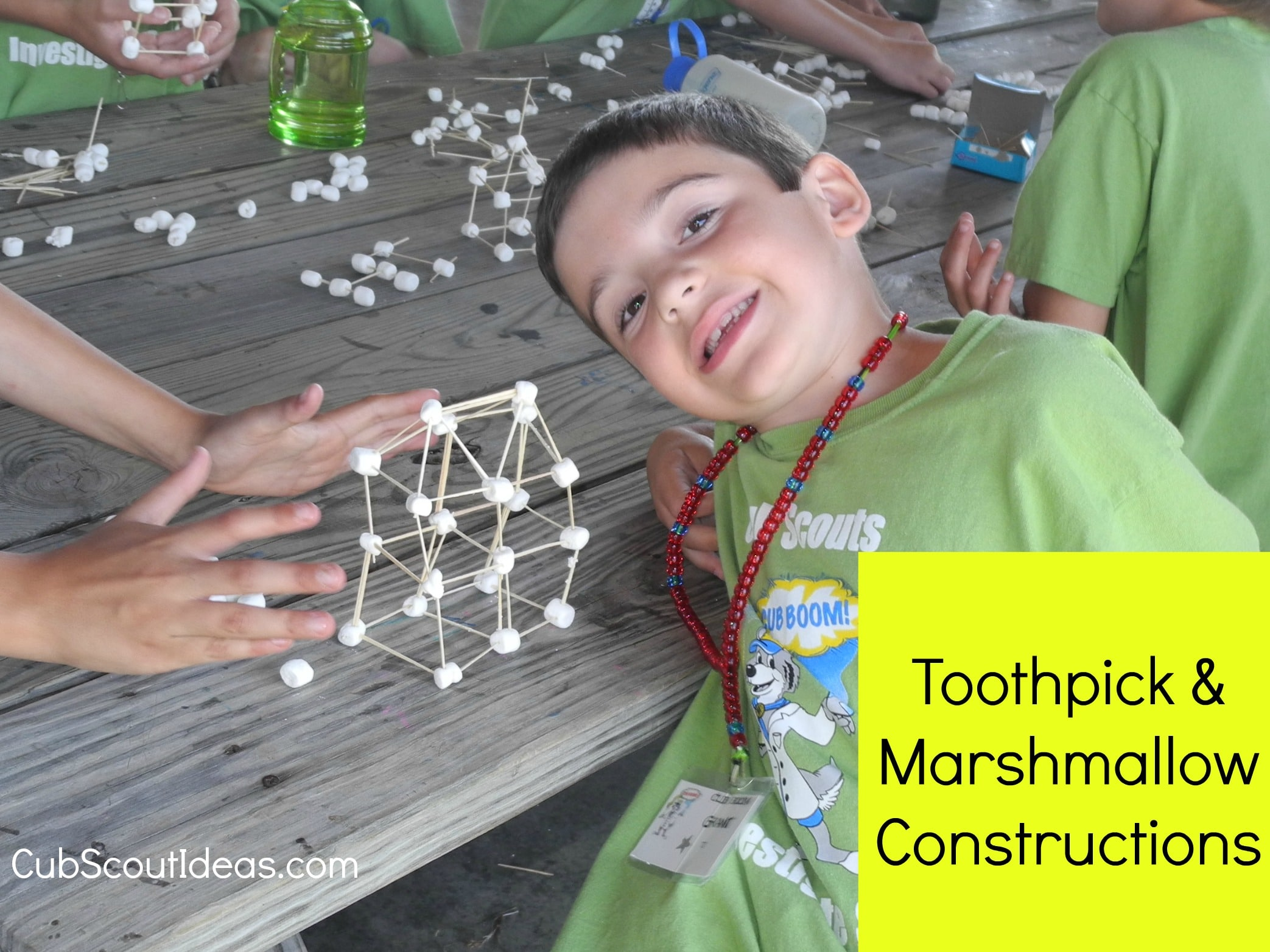 marshmallow and toothpick constructions