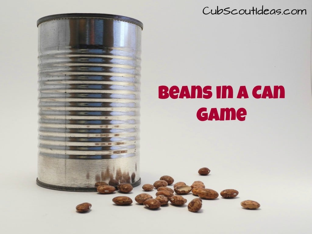 Cub Scout gathering activity bean can game