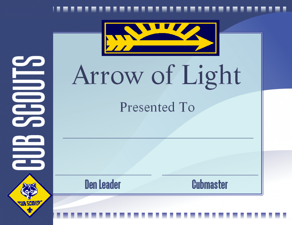 picture regarding Cub Scout Printable named Totally free Printable Arrow of Mild Certification Template Cub