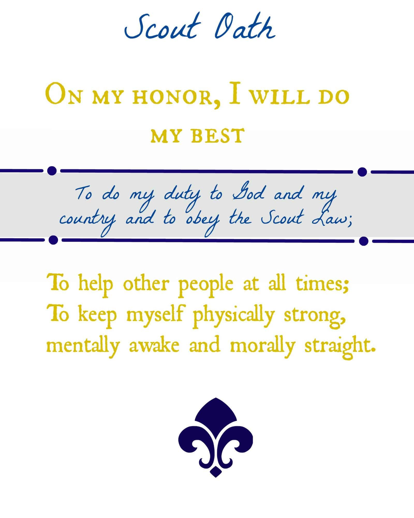 graphic about Scout Oath Printable named Scout Oath and Regulation for Cub Scouts Cub Scout Designs