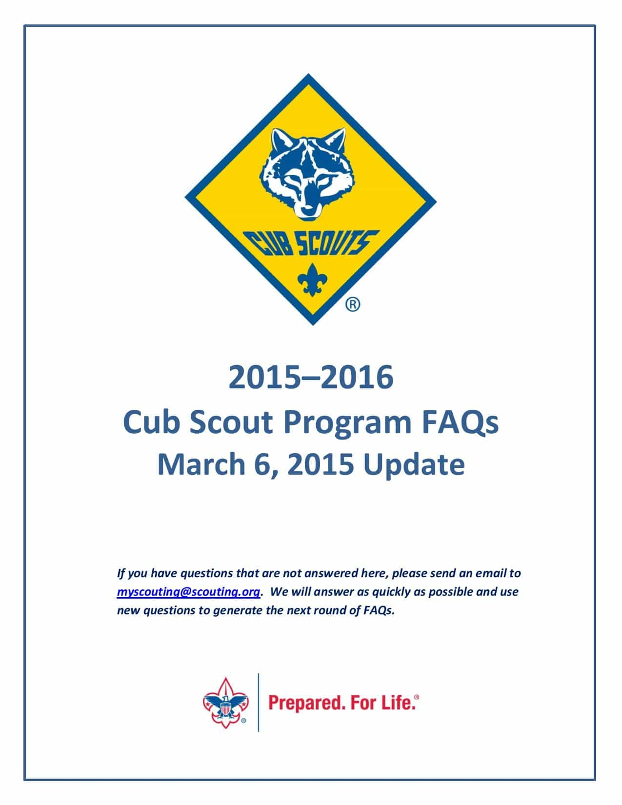 New Cub Scout Program 2015:  FAQs