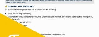 Cub Scout Pack Meeting Plans