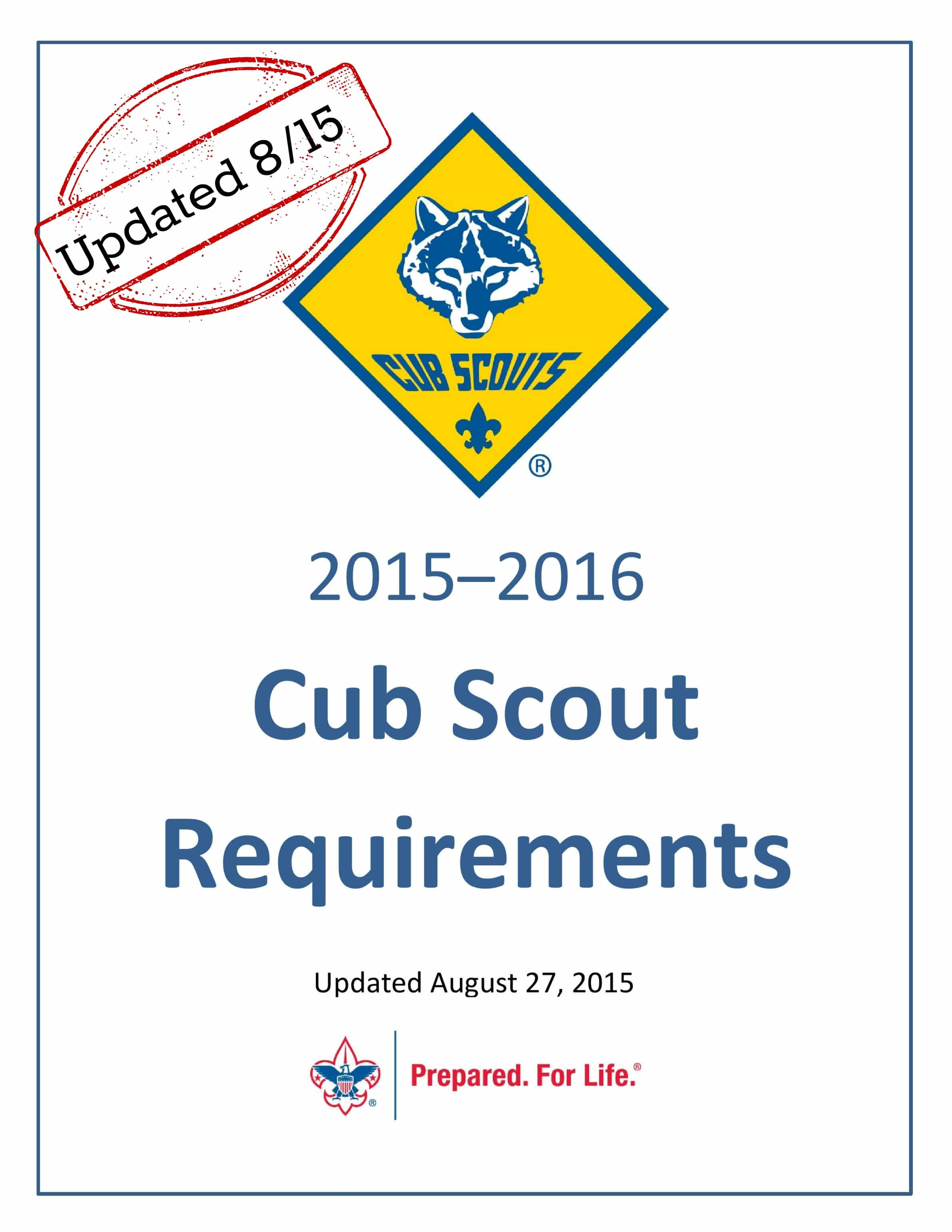Cub Scout Requirements Updated