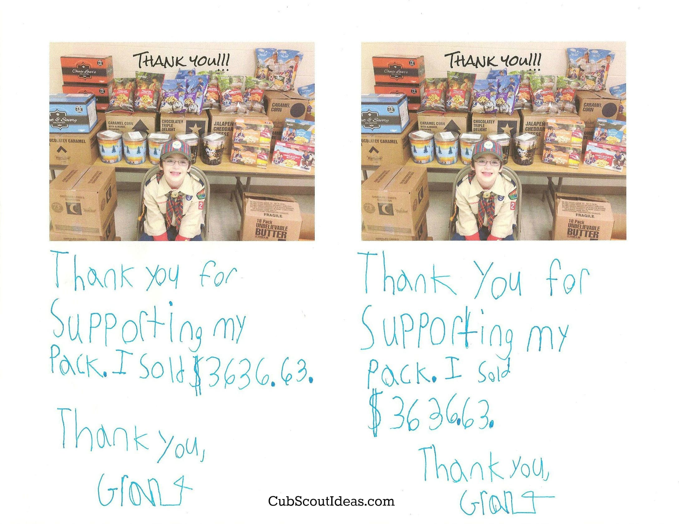 cub scout popcorn thank you notes