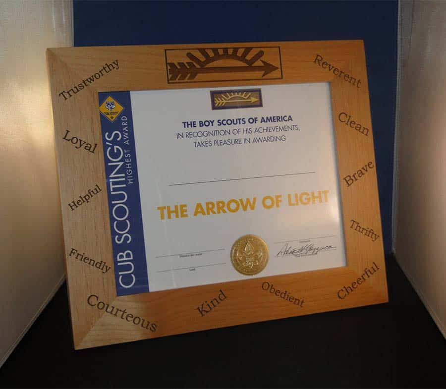 arrow of light certificate picture frame