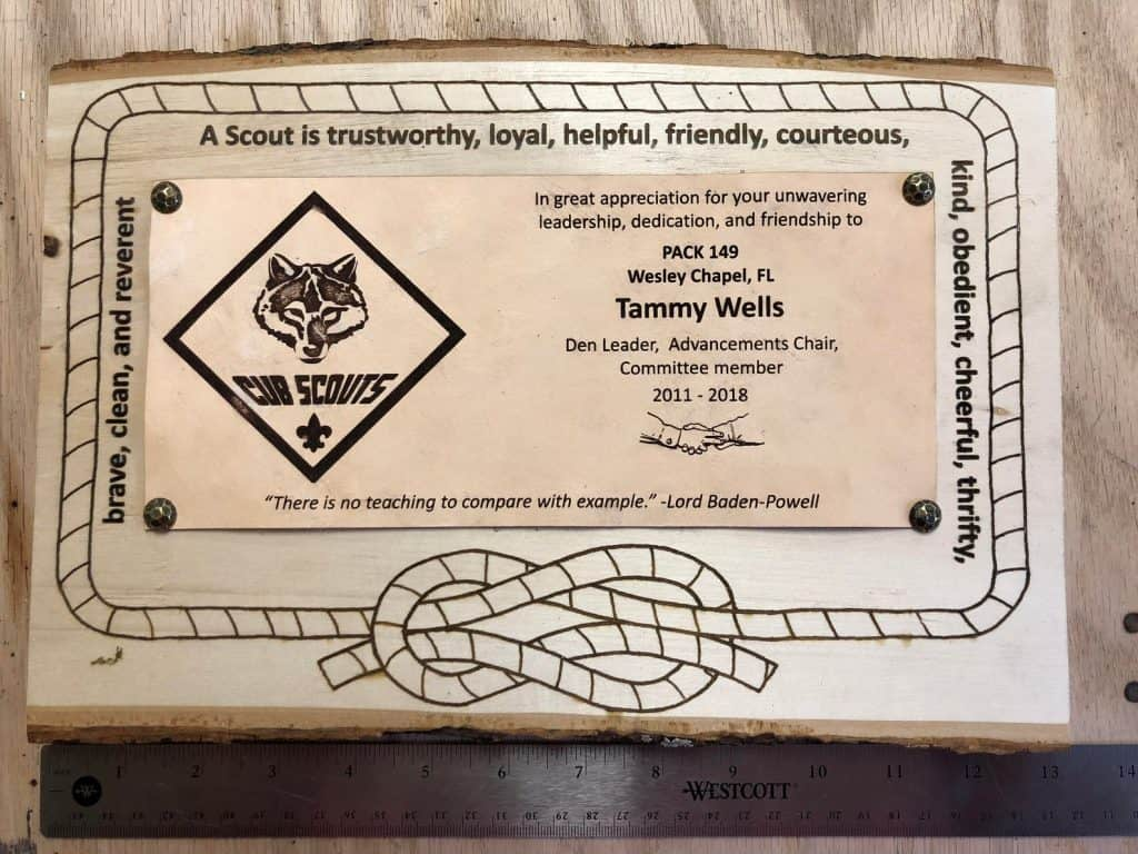 another cub scout leader plaque