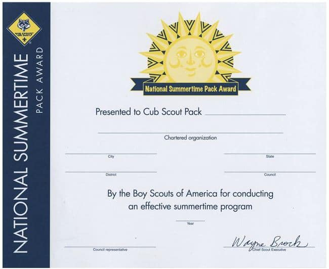 summertime pack award certificate