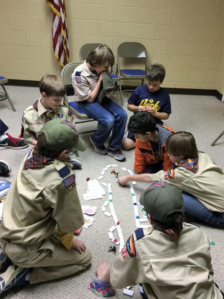 webelos working on game design adventure