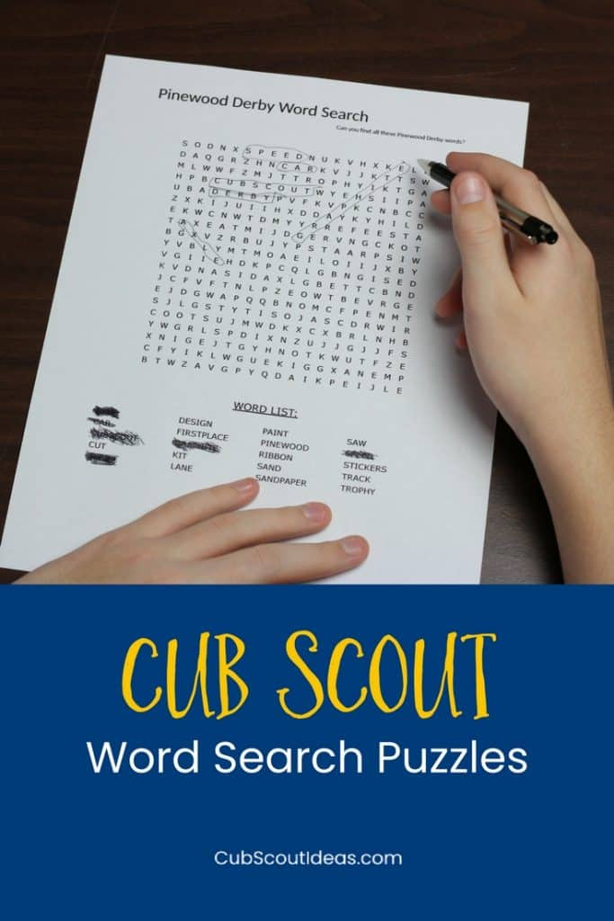 Cub Scout word search puzzles p