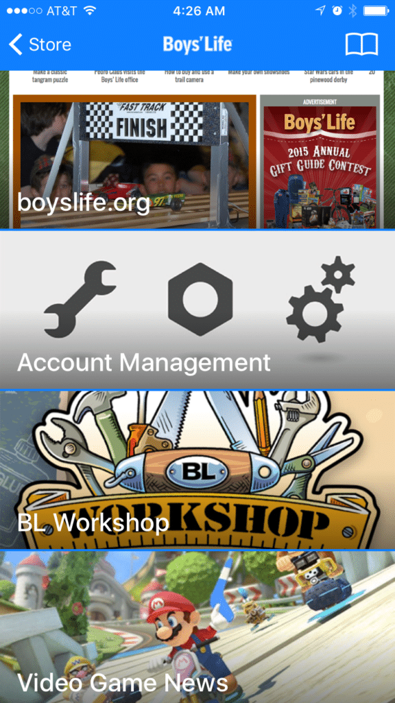 Boys Life app home screen