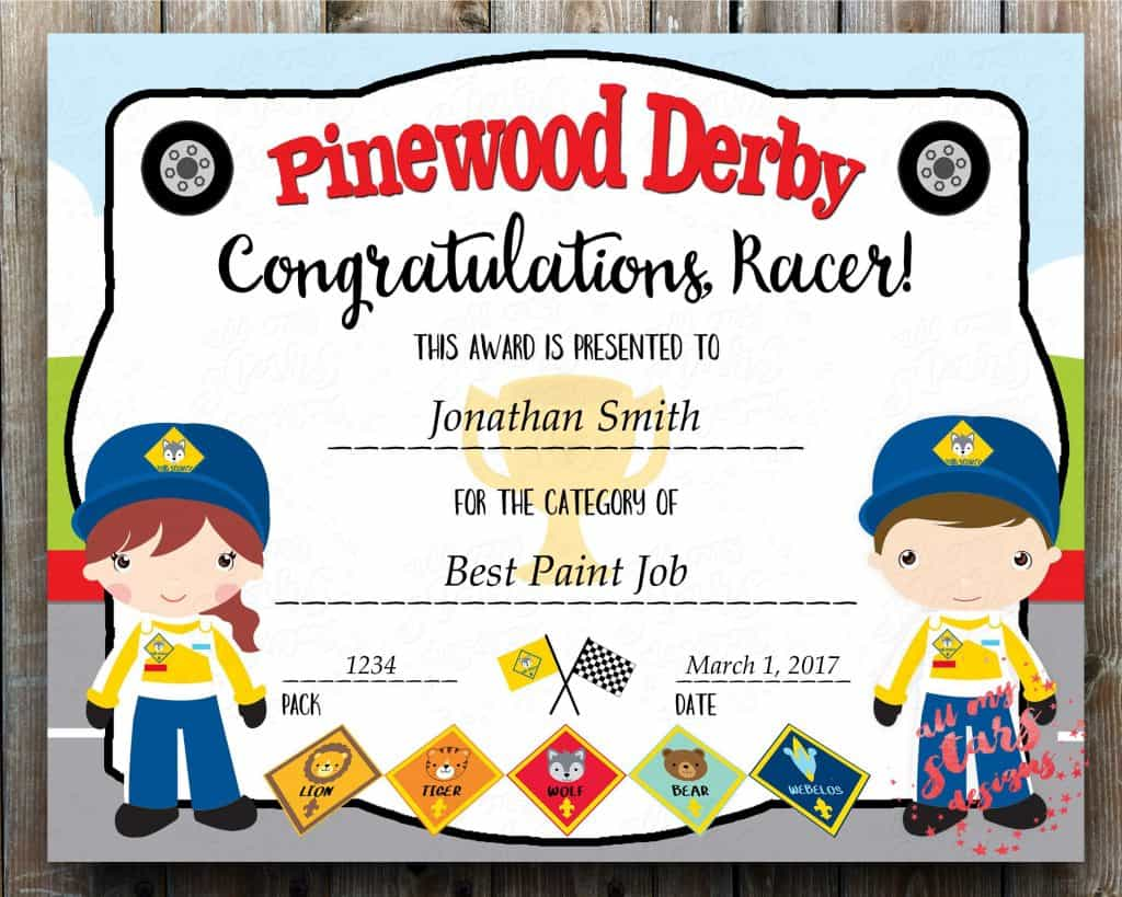 pinewood derby certificate from etsy