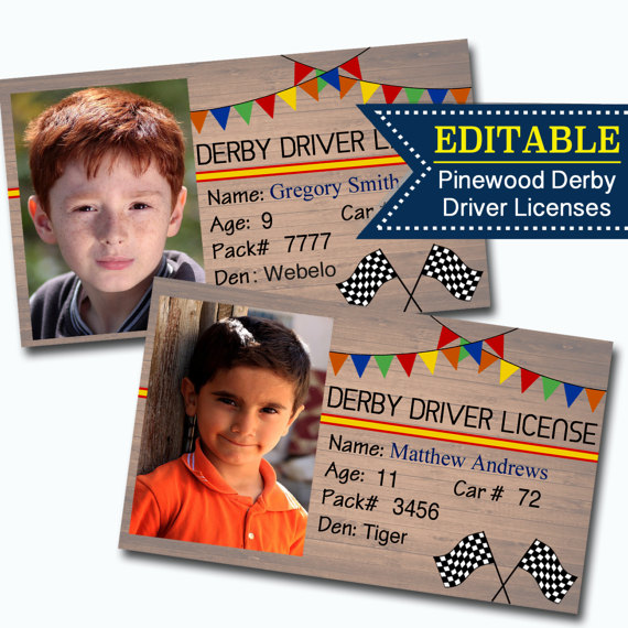 pinewood derby driver's license