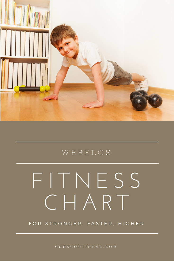 worksheet Webelos Fitness Worksheet webelos fitness chart for stronger faster higher cub scout ideas
