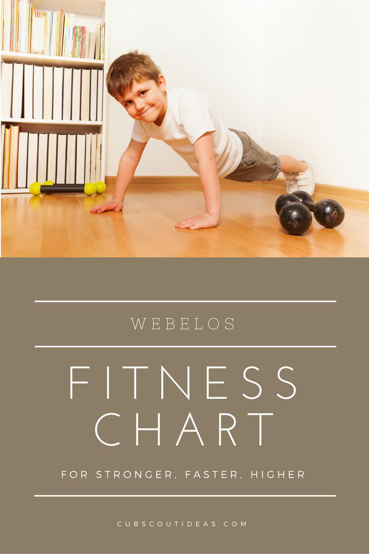 Webelos Fitness Chart for Stronger Faster Higher