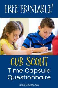 cub scout time capsule questionnaire