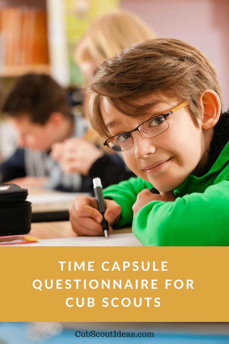 Printable Time Capsule Questionnaire for Cub Scouts