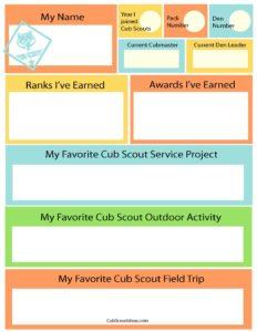 time capsule questionnaire for cub scouts