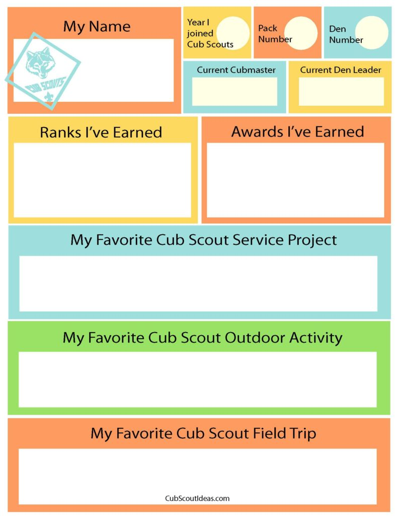 picture about Cub Scout Printable Activities titled Free of charge Printable Period Capsule Questionnaire for Cub Scouts