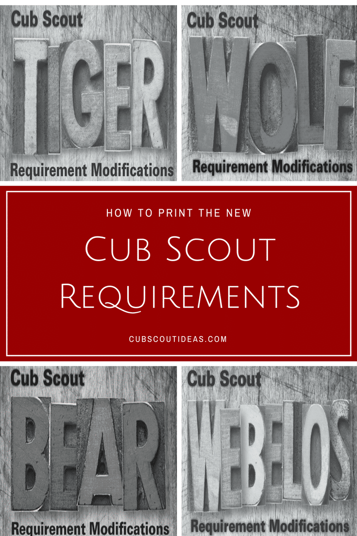 The new Cub Scout requirements modifications documents are now available to download.  Get the links here as well as hints on how to print them so they'll fit in your son's handbook.