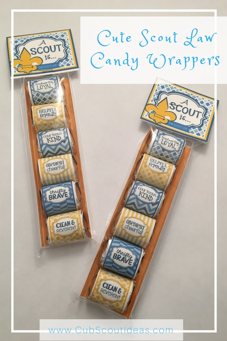 These Scout Law candy wrappers make great gifts for Cub Scouts! Whether it's a holiday or end of the year gift, the boys will love eating the candy! They're perfect for Cub Scout special events like the Blue & Gold banquet or the Pinewood Derby.
