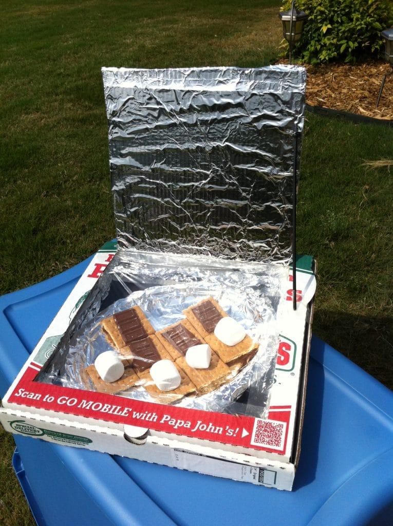 pizza box oven smores