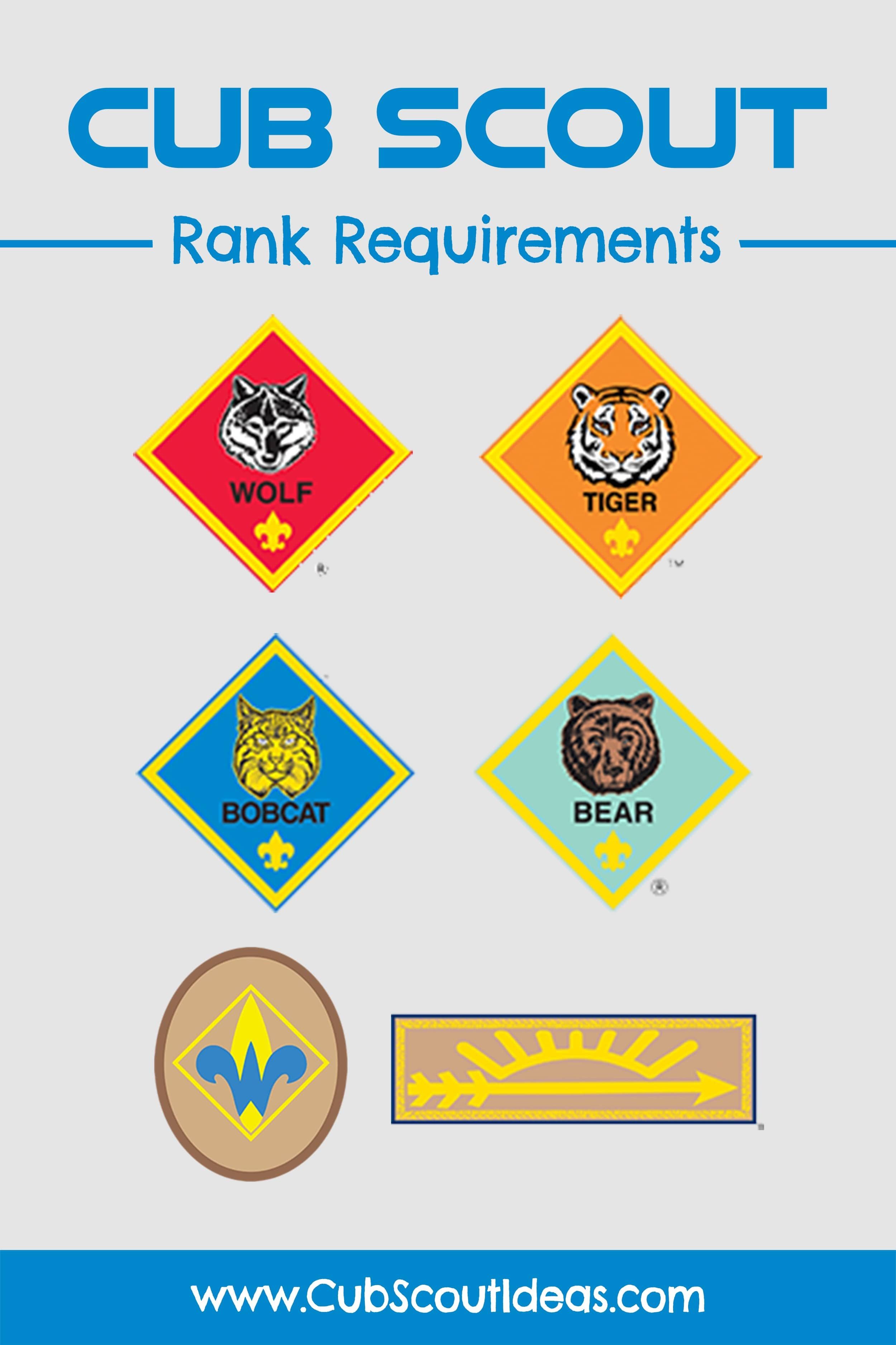 Get all of the Cub Scout rank and adventure requirements here! #CubScouts #CubScout #Scouting #Webelos #ArrowOfLight