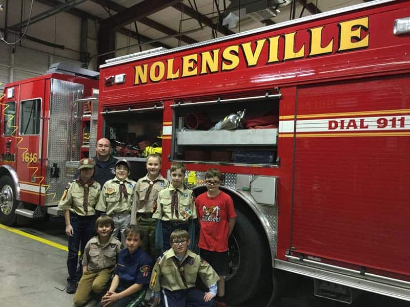 cub scouts visit fire department