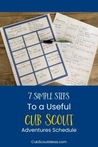 planning adventures schedule for cub scouts