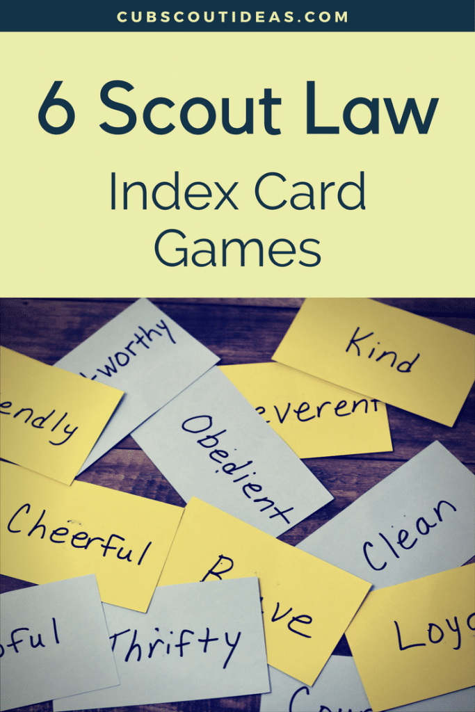 Scout Law Index Card Games 3