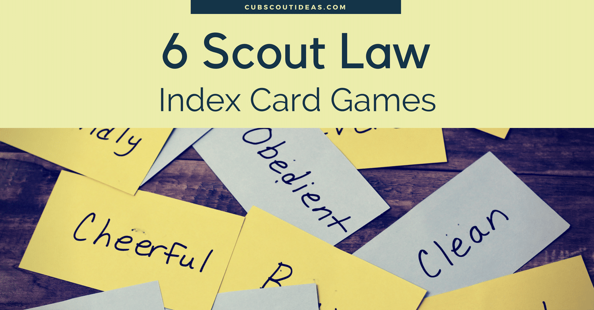 Scout Law Index Card Games