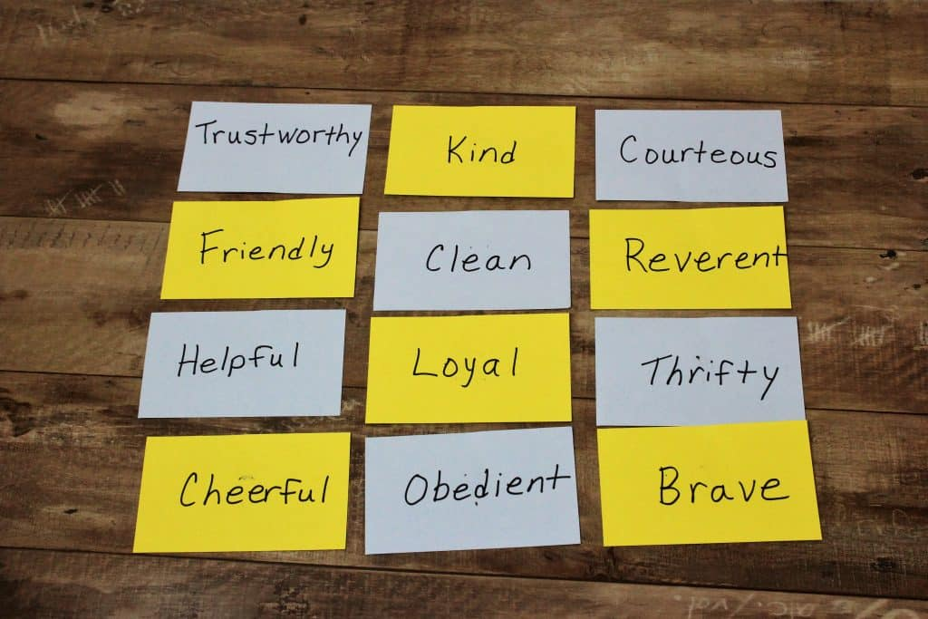 scout law index card game vanishing card