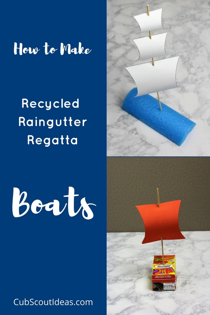Packs can have a simple Raingutter Regatta by turning it into a Recycled Raingutter Regatta! For this environmentally friendly activity, you don't need kits--just stuff from your recycling bin and a few supplies. #CubScouts