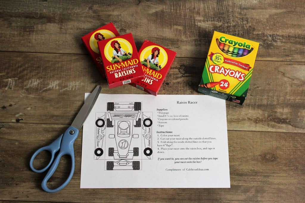 cub scout raisin racer supplies