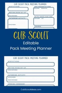 Cub Scout Pack Meeting Planners