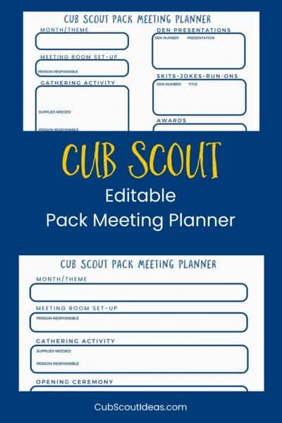 Be More Organized – Free Cub Scout Pack Meeting Planner