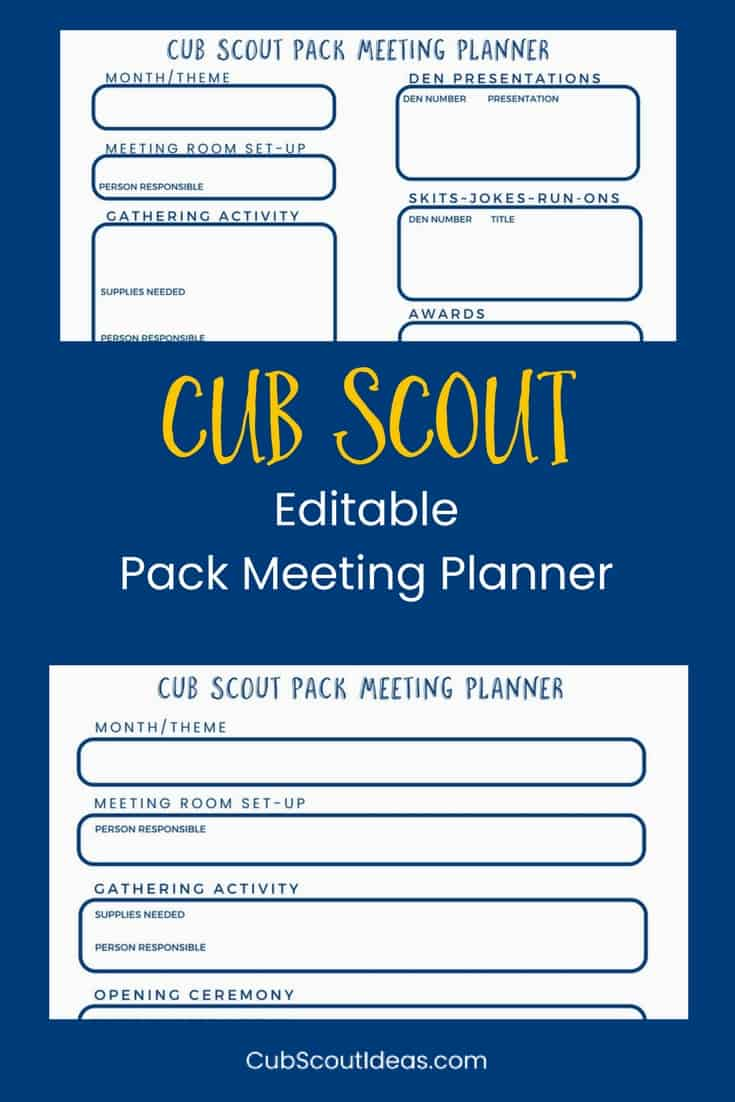 Free Cub Scout Pack Meeting Planner