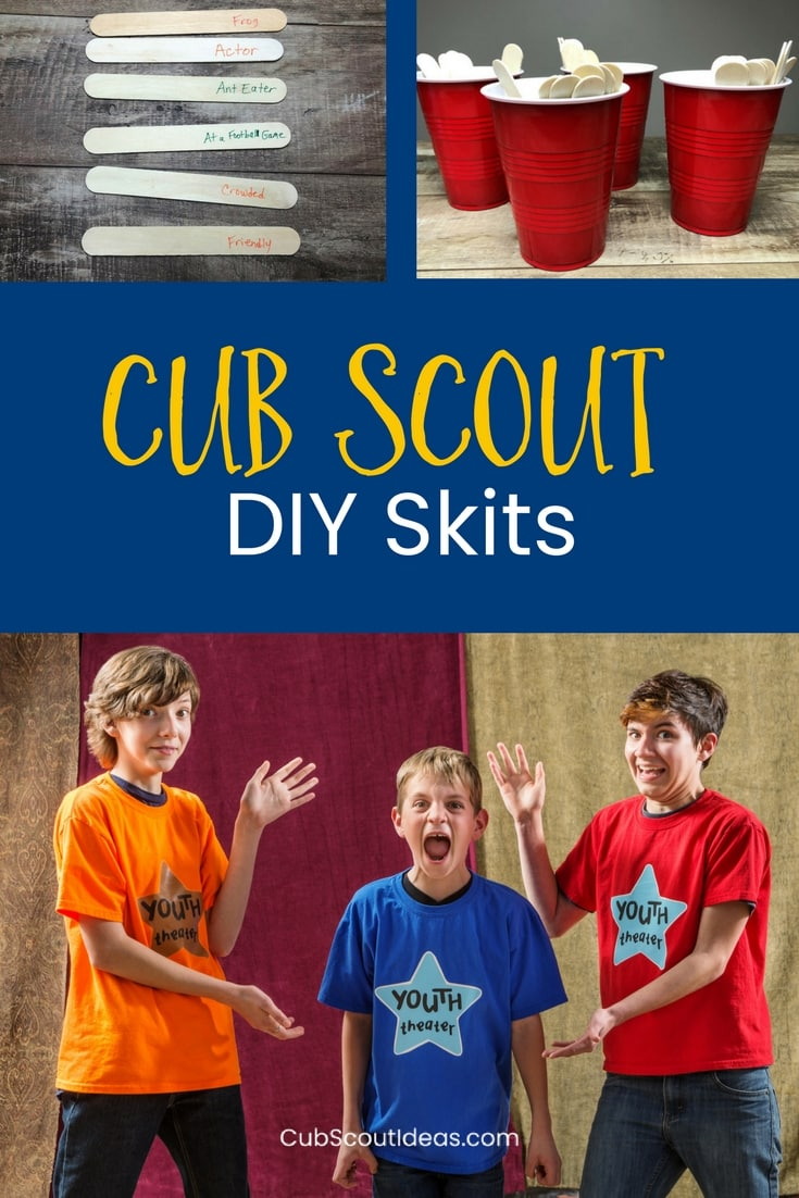 Check out this super fun way for your Cub Scouts to create their own Cub Scout skits! Super easy for all ranks--Tiger, Wolf, Bear, Webelos, and Arrow of Light! #CubScouts #Skits #Easy