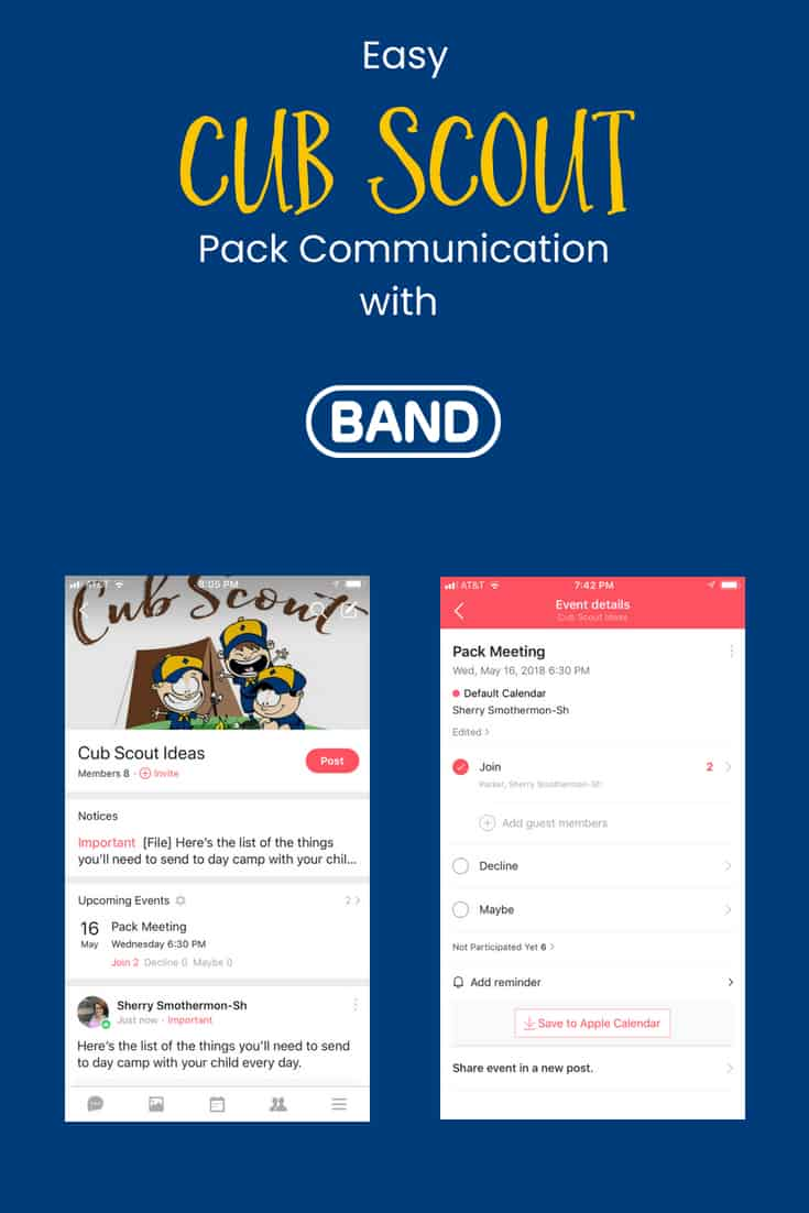 easy Cub Scout pack communication with band