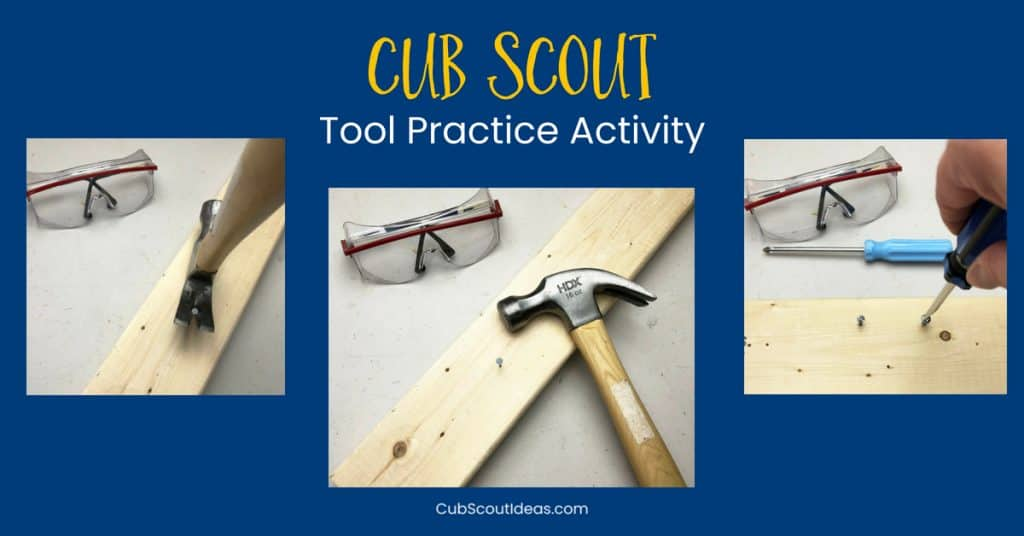 Cub Scout tool practice activity