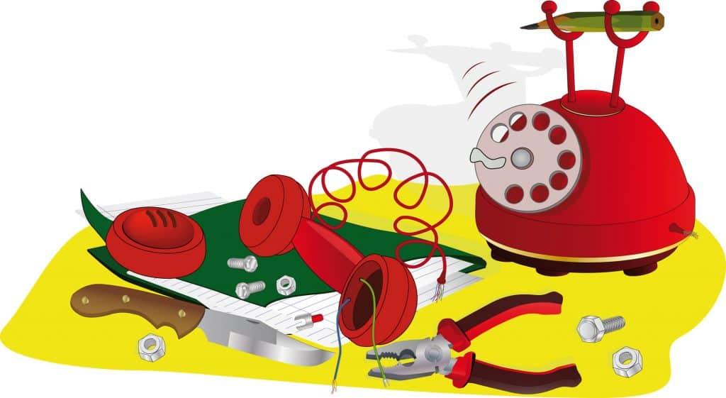telephone taken apart