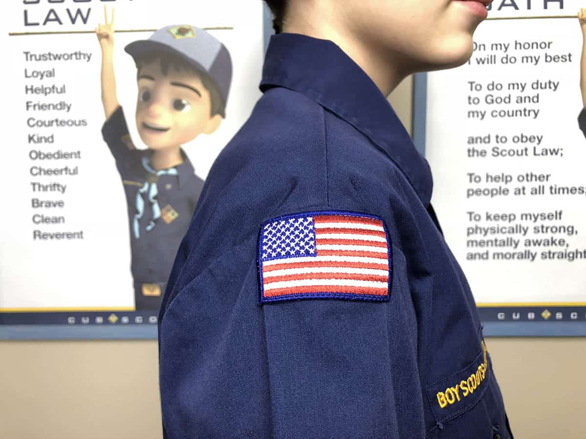 American Flag on Cub Scout uniform for flag ceremony