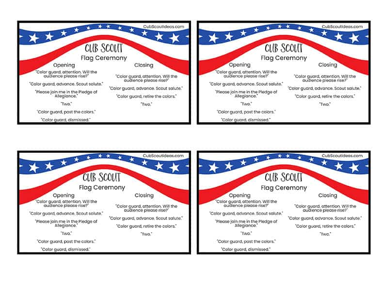 Cub Scout Flag Ceremony Script Cards