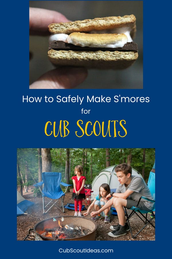 Learn how to safely make s'mores on the campfire during your next camping trip. Keep your kids safe around the fire as they make these easy classic treats. #CubScouts #CubScout #Scouting #Webelos #ArrowOfLight #Camping #Campfire #Smores #OutdoorCooking